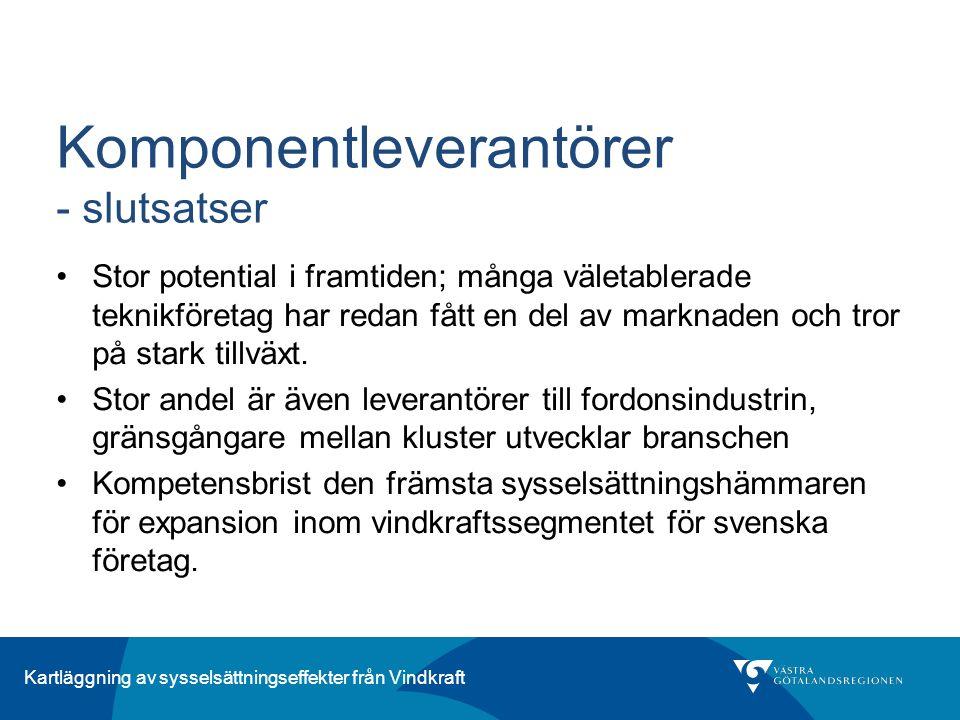 Kartläggning av sysselsättningseffekter från Vindkraft Komponentleverantörer - slutsatser Stor potential i framtiden; många väletablerade teknikföreta