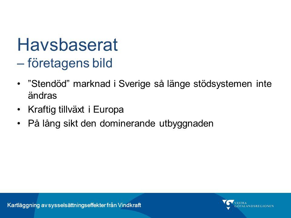 """Kartläggning av sysselsättningseffekter från Vindkraft Havsbaserat – företagens bild """"Stendöd"""" marknad i Sverige så länge stödsystemen inte ändras Kra"""