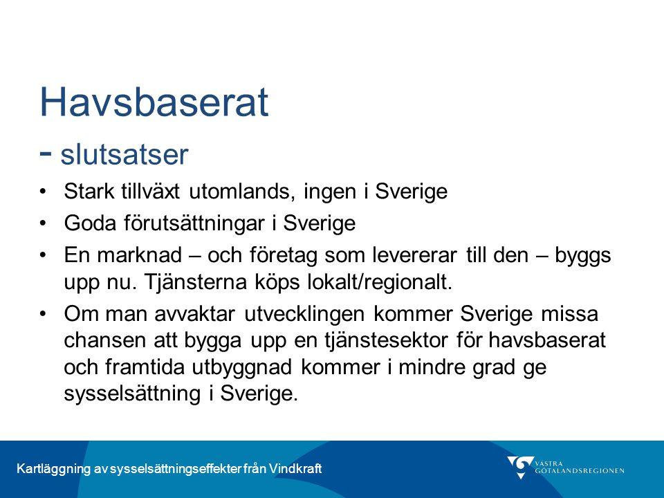 Kartläggning av sysselsättningseffekter från Vindkraft Havsbaserat - slutsatser Stark tillväxt utomlands, ingen i Sverige Goda förutsättningar i Sveri