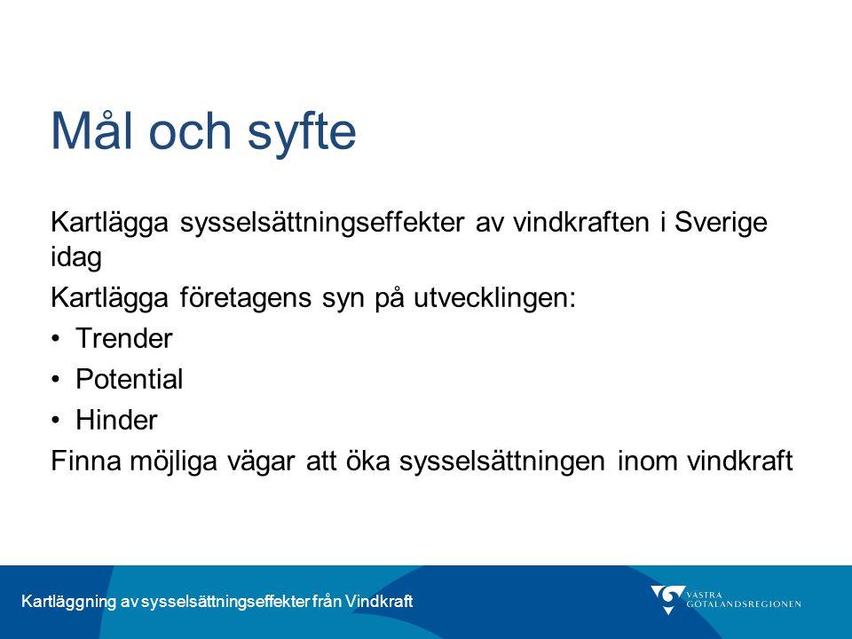 Kartläggning av sysselsättningseffekter från Vindkraft Mål och syfte Kartlägga sysselsättningseffekter av vindkraften i Sverige idag Kartlägga företag
