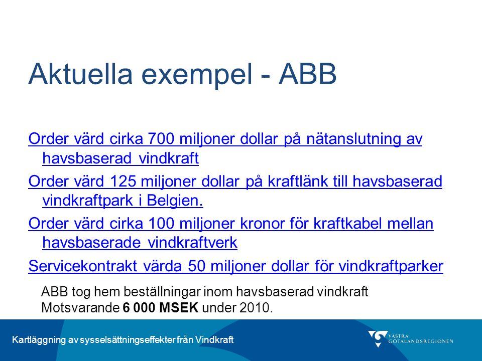 Kartläggning av sysselsättningseffekter från Vindkraft Aktuella exempel - ABB Order värd cirka 700 miljoner dollar på nätanslutning av havsbaserad vin