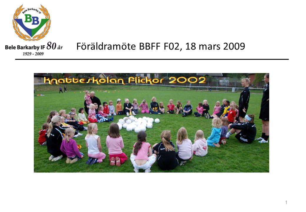 Föräldramöte BBFF F02, 18 mars 2009 1