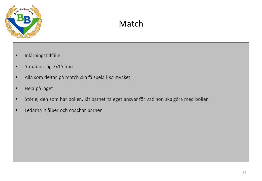 11 Match Inlärningstillfälle 5-manna lag 2x15 min Alla som deltar på match ska få spela lika mycket Heja på laget Stör ej den som har bollen, låt barn