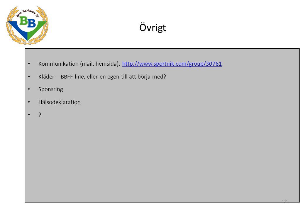 Övrigt Kommunikation (mail, hemsida): http://www.sportnik.com/group/30761http://www.sportnik.com/group/30761 Kläder – BBFF line, eller en egen till att börja med.