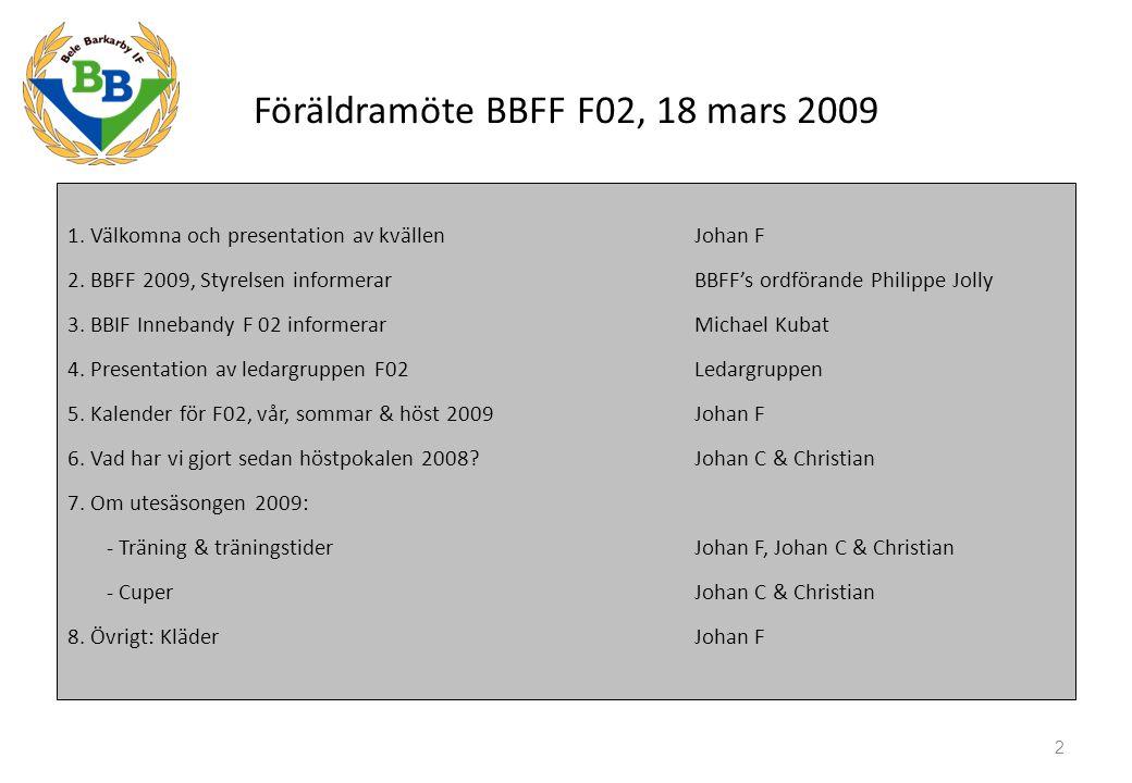 1. Välkomna och presentation av kvällen Johan F 2. BBFF 2009, Styrelsen informerarBBFF's ordförande Philippe Jolly 3. BBIF Innebandy F 02 informerar M