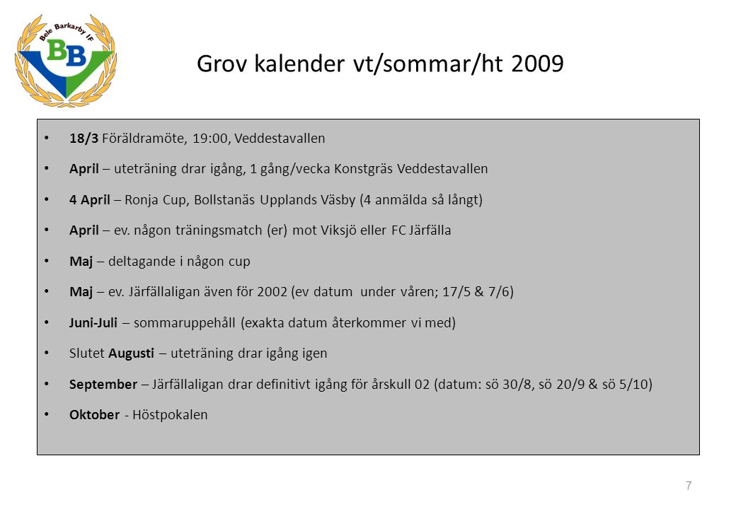 Grov kalender vt/sommar/ht 2009 18/3 Föräldramöte, 19:00, Veddestavallen April – uteträning drar igång, 1 gång/vecka Konstgräs Veddestavallen 4 April – Ronja Cup, Bollstanäs Upplands Väsby (4 anmälda så långt) April – ev.