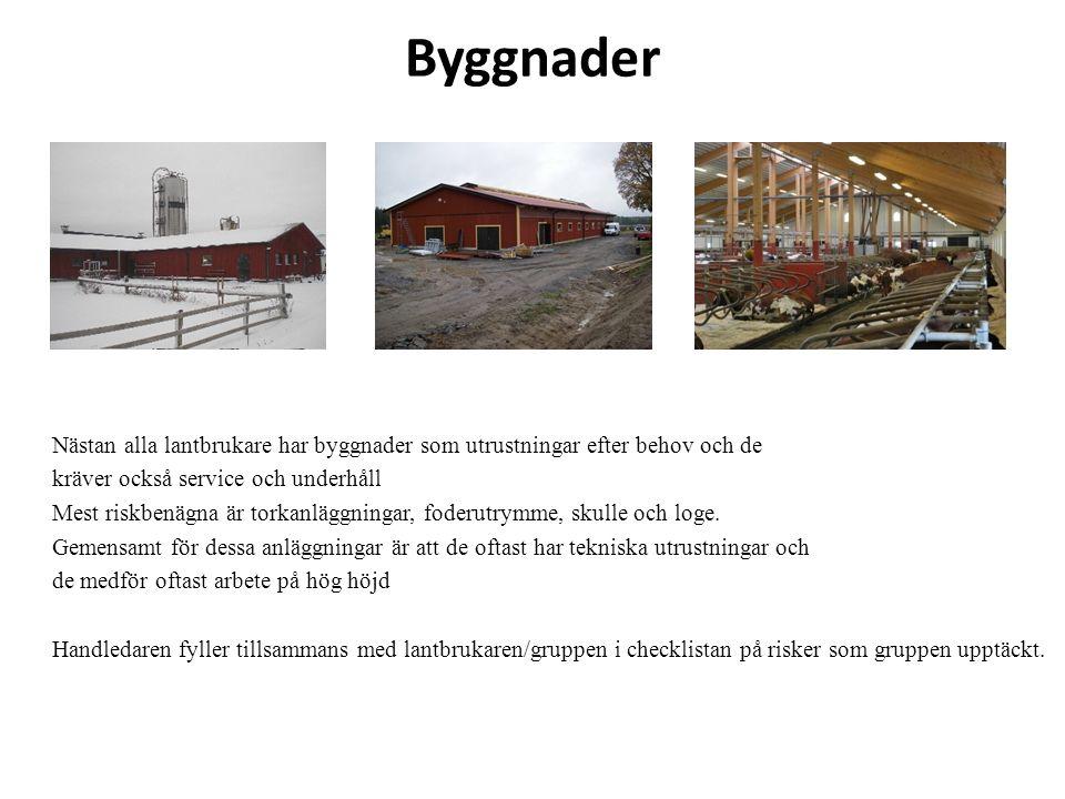 Byggnader Nästan alla lantbrukare har byggnader som utrustningar efter behov och de kräver också service och underhåll Mest riskbenägna är torkanläggn