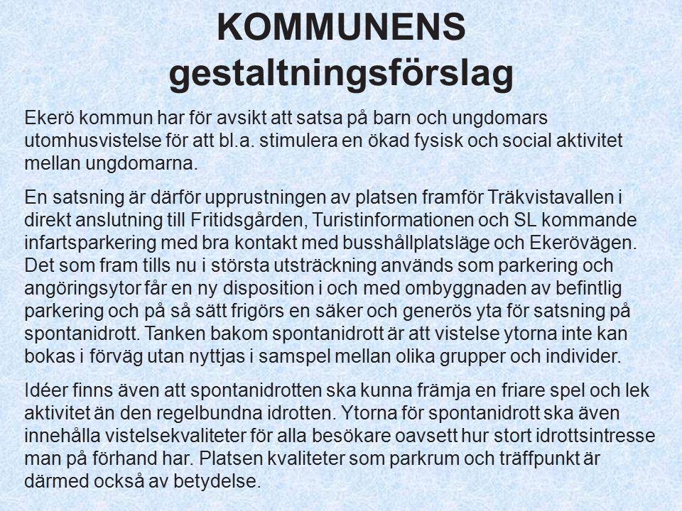 KOMMUNENS gestaltningsförslag Ekerö kommun har för avsikt att satsa på barn och ungdomars utomhusvistelse för att bl.a.