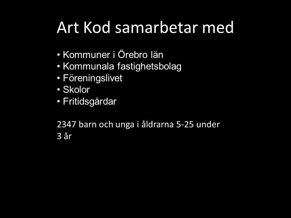 Art Kod samarbetar med Kommuner i Örebro län Kommunala fastighetsbolag Föreningslivet Skolor Fritidsgårdar 2347 barn och unga i åldrarna 5-25 under 3