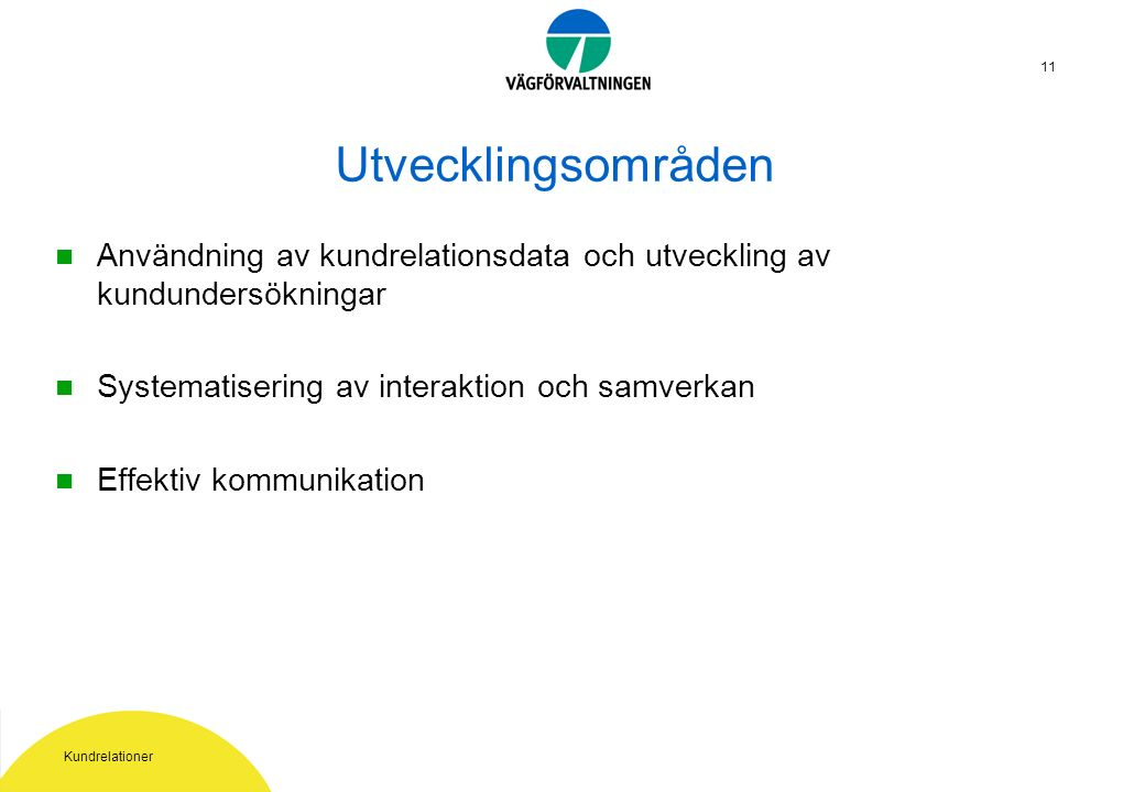 Kundrelationer 11 Utvecklingsområden Användning av kundrelationsdata och utveckling av kundundersökningar Systematisering av interaktion och samverkan Effektiv kommunikation