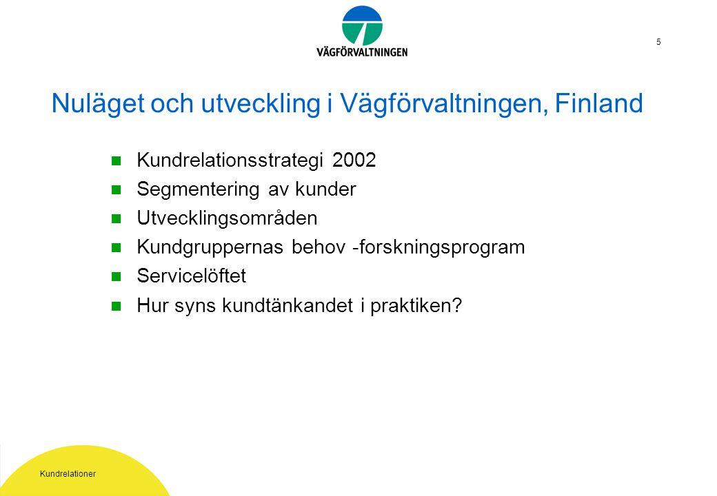 Kundrelationer 5 Nuläget och utveckling i Vägförvaltningen, Finland Kundrelationsstrategi 2002 Segmentering av kunder Utvecklingsområden Kundgruppernas behov -forskningsprogram Servicelöftet Hur syns kundtänkandet i praktiken