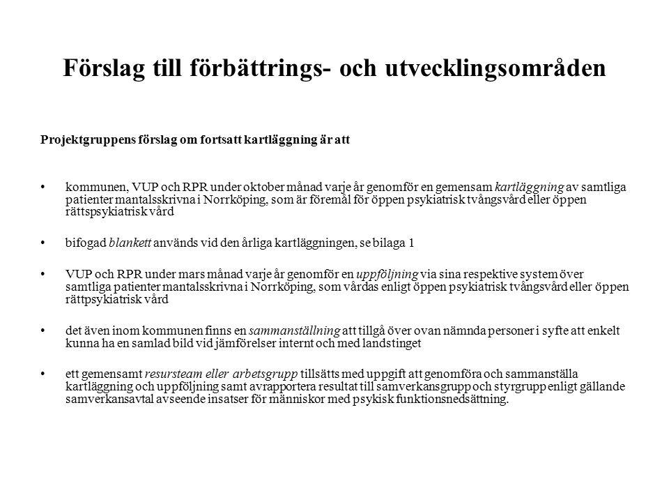 Förslag till förbättrings- och utvecklingsområden Projektgruppens förslag om fortsatt kartläggning är att kommunen, VUP och RPR under oktober månad varje år genomför en gemensam kartläggning av samtliga patienter mantalsskrivna i Norrköping, som är föremål för öppen psykiatrisk tvångsvård eller öppen rättspsykiatrisk vård bifogad blankett används vid den årliga kartläggningen, se bilaga 1 VUP och RPR under mars månad varje år genomför en uppföljning via sina respektive system över samtliga patienter mantalsskrivna i Norrköping, som vårdas enligt öppen psykiatrisk tvångsvård eller öppen rättpsykiatrisk vård det även inom kommunen finns en sammanställning att tillgå över ovan nämnda personer i syfte att enkelt kunna ha en samlad bild vid jämförelser internt och med landstinget ett gemensamt resursteam eller arbetsgrupp tillsätts med uppgift att genomföra och sammanställa kartläggning och uppföljning samt avrapportera resultat till samverkansgrupp och styrgrupp enligt gällande samverkansavtal avseende insatser för människor med psykisk funktionsnedsättning.