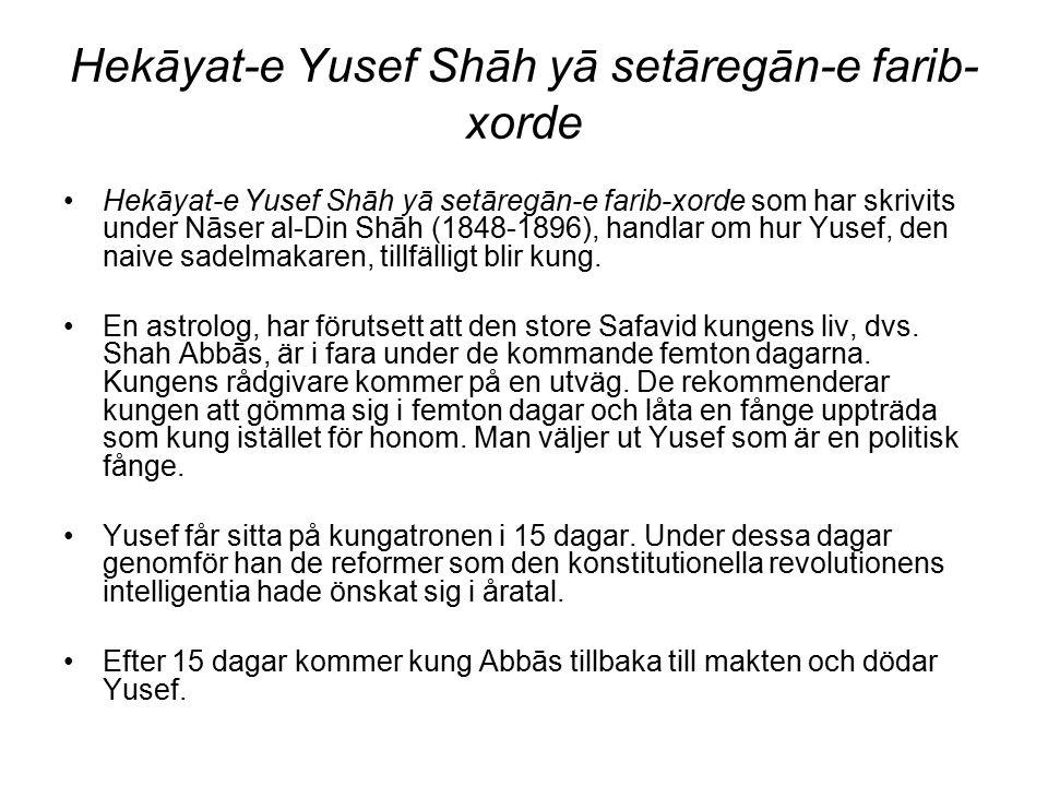 Hekāyat-e Yusef Shāh yā setāregān-e farib- xorde Hekāyat-e Yusef Shāh yā setāregān-e farib-xorde som har skrivits under Nāser al-Din Shāh (1848-1896),