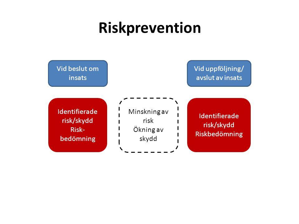 Riskprevention Vid beslut om insats Vid uppföljning/ avslut av insats Identifierade risk/skydd Risk- bedömning Identifierade risk/skydd Riskbedömning Minskning av risk Ökning av skydd