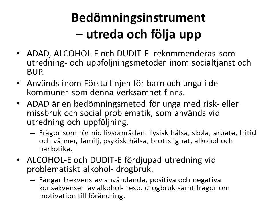 Bedömningsinstrument – utreda och följa upp ADAD, ALCOHOL-E och DUDIT-E rekommenderas som utredning- och uppföljningsmetoder inom socialtjänst och BUP.