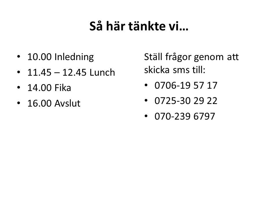 Så här tänkte vi… 10.00 Inledning 11.45 – 12.45 Lunch 14.00 Fika 16.00 Avslut Ställ frågor genom att skicka sms till: 0706-19 57 17 0725-30 29 22 070-239 6797