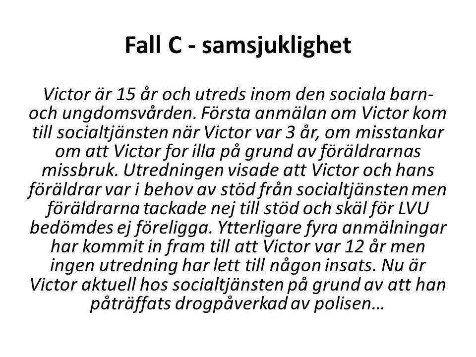 Fall C - samsjuklighet Victor är 15 år och utreds inom den sociala barn- och ungdomsvården.