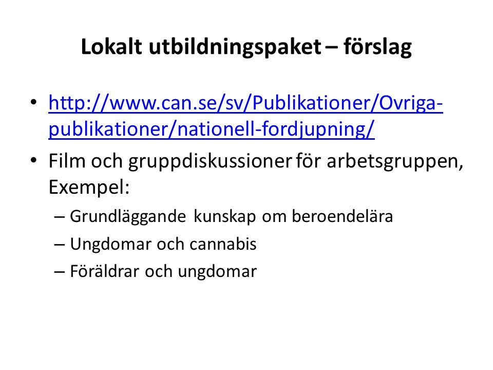 Lokalt utbildningspaket – förslag http://www.can.se/sv/Publikationer/Ovriga- publikationer/nationell-fordjupning/ http://www.can.se/sv/Publikationer/Ovriga- publikationer/nationell-fordjupning/ Film och gruppdiskussioner för arbetsgruppen, Exempel: – Grundläggande kunskap om beroendelära – Ungdomar och cannabis – Föräldrar och ungdomar