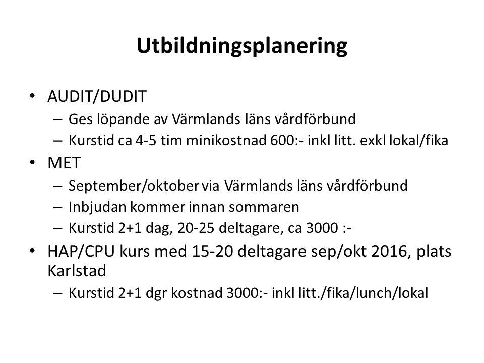 Utbildningsplanering AUDIT/DUDIT – Ges löpande av Värmlands läns vårdförbund – Kurstid ca 4-5 tim minikostnad 600:- inkl litt.