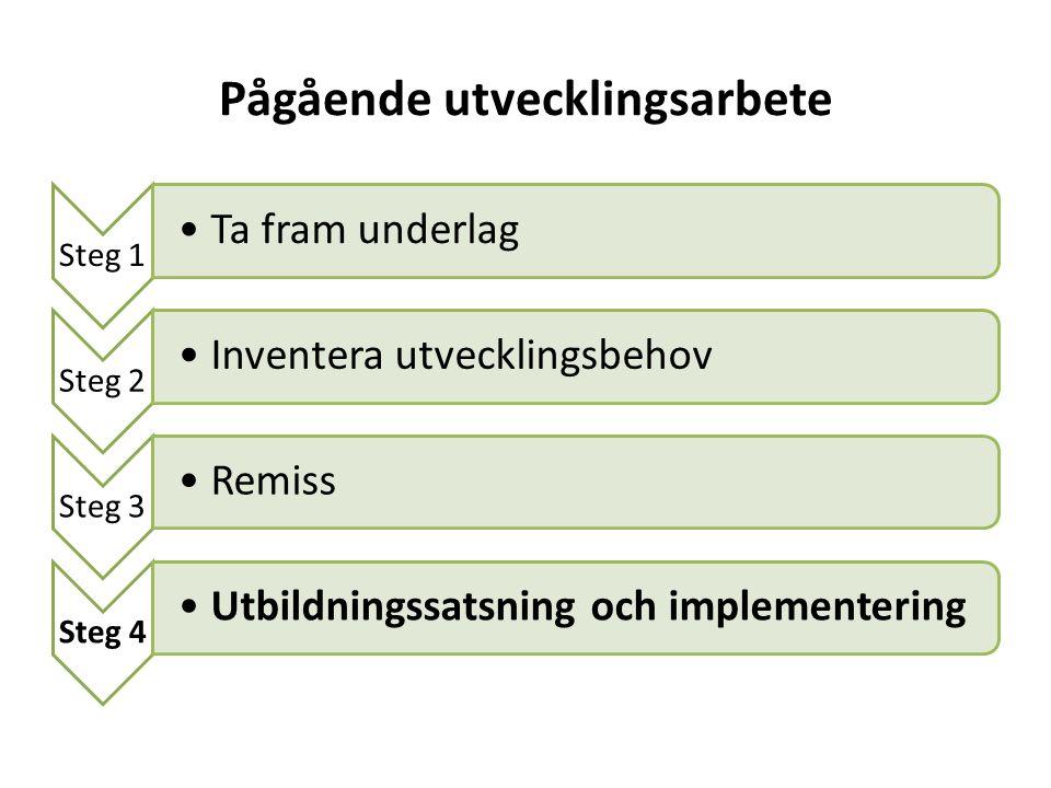 Pågående utvecklingsarbete Steg 1 Ta fram underlag Steg 2 Inventera utvecklingsbehov Steg 3 Remiss Steg 4 Utbildningssatsning och implementering