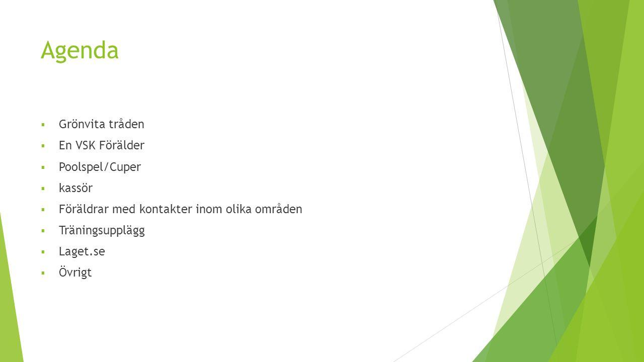 Agenda  Grönvita tråden  En VSK Förälder  Poolspel/Cuper  kassör  Föräldrar med kontakter inom olika områden  Träningsupplägg  Laget.se  Övrig