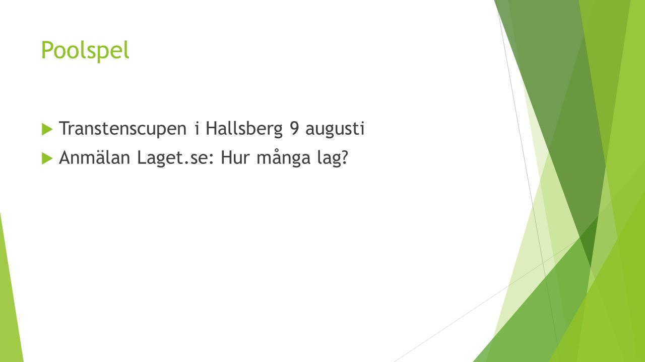 Poolspel  Transtenscupen i Hallsberg 9 augusti  Anmälan Laget.se: Hur många lag?