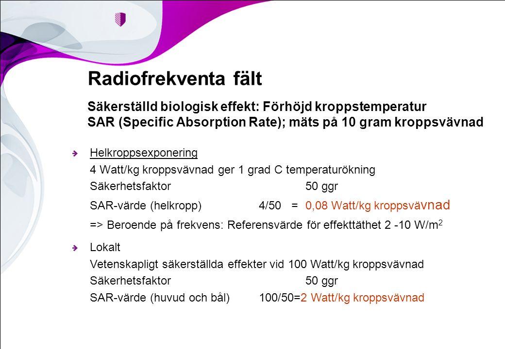 Radiofrekventa fält Säkerställd biologisk effekt: Förhöjd kroppstemperatur SAR (Specific Absorption Rate); mäts på 10 gram kroppsvävnad Helkroppsexponering 4 Watt/kg kroppsvävnad ger 1 grad C temperaturökning Säkerhetsfaktor50 ggr SAR-värde (helkropp) 4/50 =0,08 Watt/kg kroppsvä vnad => Beroende på frekvens: Referensvärde för effekttäthet 2 -10 W/m 2 Lokalt Vetenskapligt säkerställda effekter vid 100 Watt/kg kroppsvävnad Säkerhetsfaktor50 ggr SAR-värde (huvud och bål)100/50=2 Watt/kg kroppsvävnad
