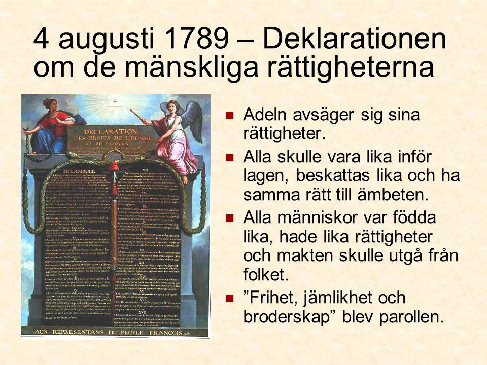 4 augusti 1789 – Deklarationen om de mänskliga rättigheterna Adeln avsäger sig sina rättigheter.