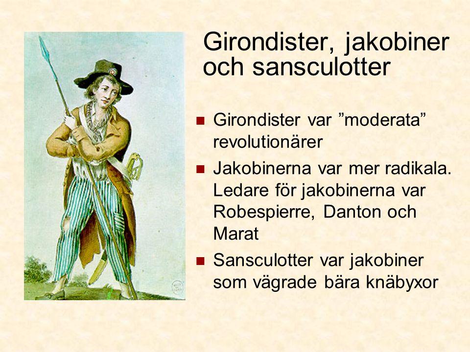 Girondister, jakobiner och sansculotter Girondister var moderata revolutionärer Jakobinerna var mer radikala.