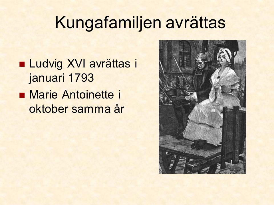 Kungafamiljen avrättas Ludvig XVI avrättas i januari 1793 Marie Antoinette i oktober samma år