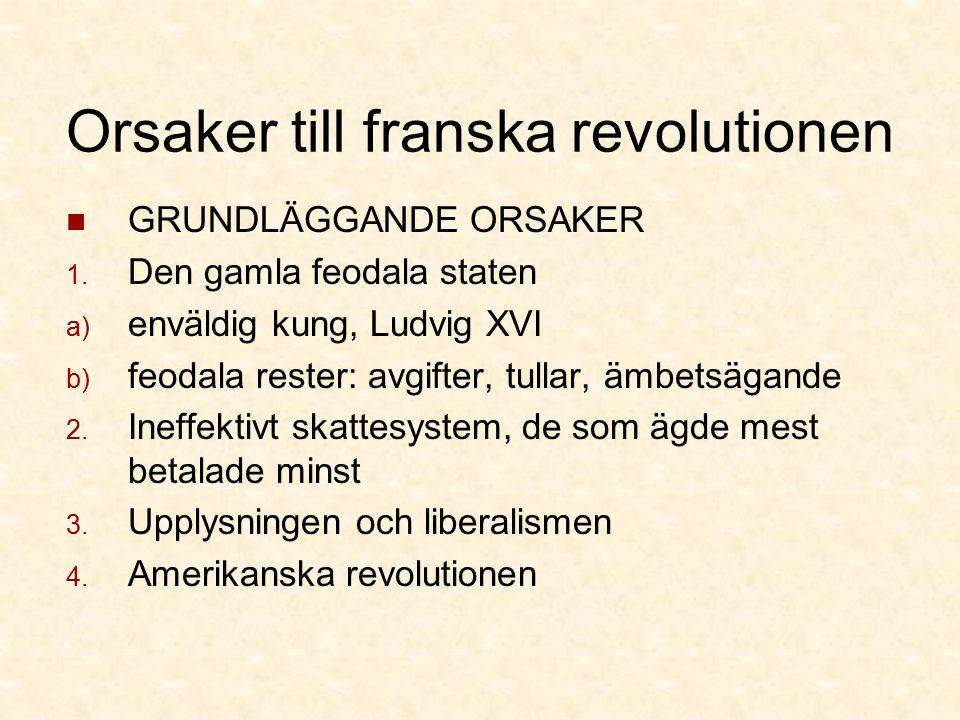 Orsaker till franska revolutionen GRUNDLÄGGANDE ORSAKER 1.