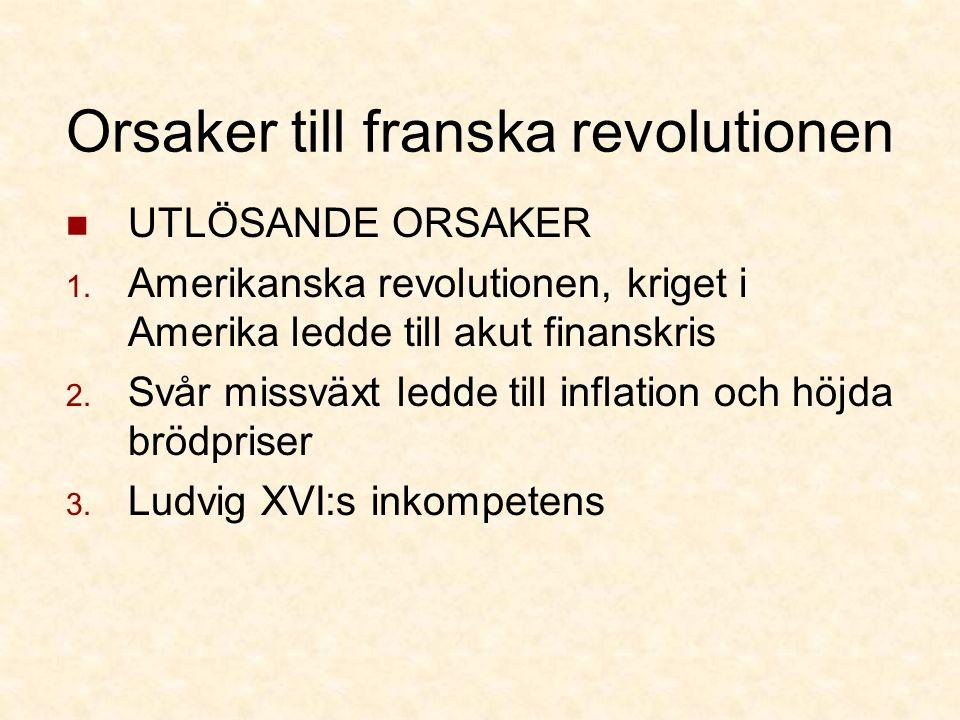 Orsaker till franska revolutionen UTLÖSANDE ORSAKER 1.