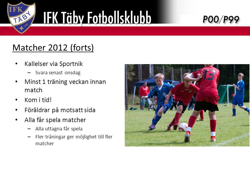 Träningsupplägg 2012 Kallelser via Sportnik – Svara senast onsdag Minst 1 träning veckan innan match Kom i tid.