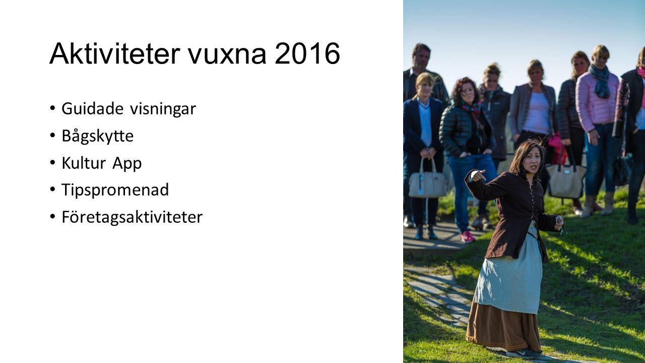 Aktiviteter vuxna 2016 Guidade visningar Bågskytte Kultur App Tipspromenad Företagsaktiviteter