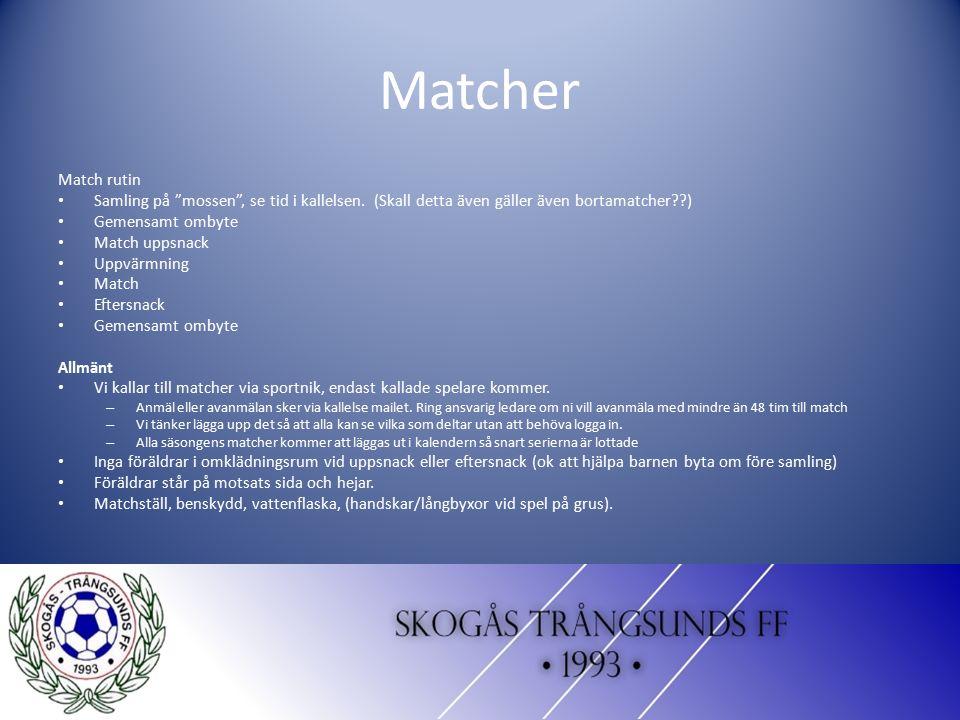 """Matcher Match rutin Samling på """"mossen"""", se tid i kallelsen. (Skall detta även gäller även bortamatcher??) Gemensamt ombyte Match uppsnack Uppvärmning"""