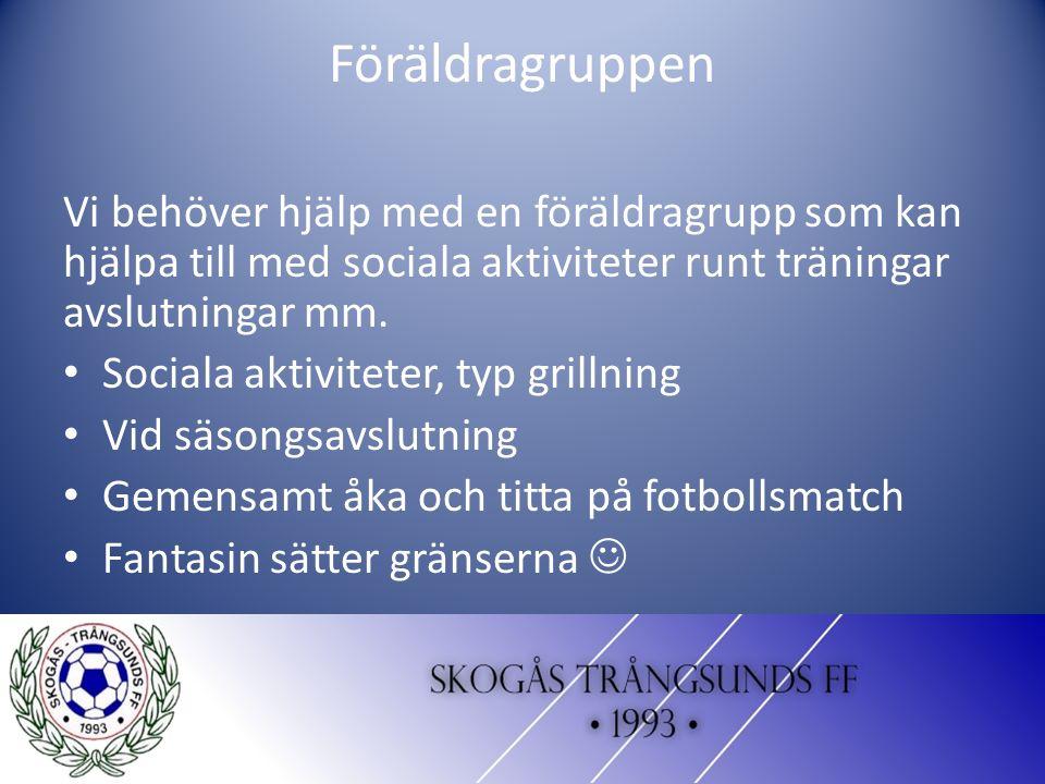 Föräldragruppen Vi behöver hjälp med en föräldragrupp som kan hjälpa till med sociala aktiviteter runt träningar avslutningar mm. Sociala aktiviteter,