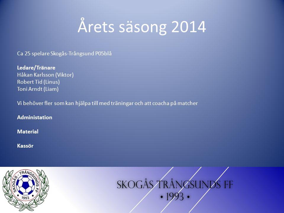 Årets säsong 2014 Ca 25 spelare Skogås-Trångsund P05blå Ledare/Tränare Håkan Karlsson (Viktor) Robert Tid (Linus) Toni Arndt (Liam) Vi behöver fler so