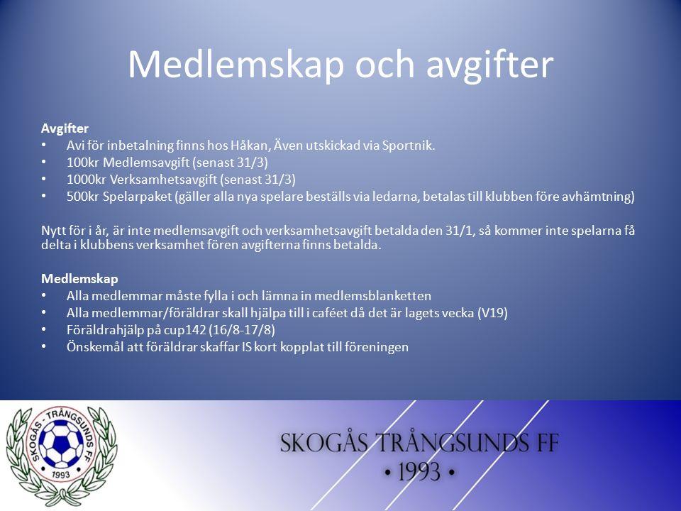 Medlemskap och avgifter Avgifter Avi för inbetalning finns hos Håkan, Även utskickad via Sportnik. 100kr Medlemsavgift (senast 31/3) 1000kr Verksamhet