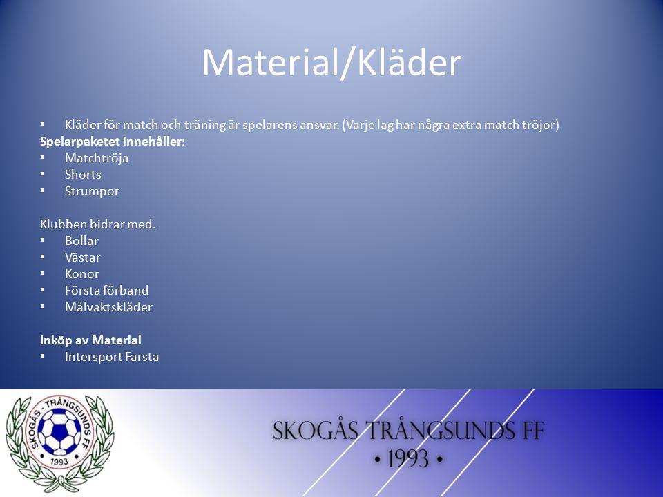 Material/Kläder Kläder för match och träning är spelarens ansvar. (Varje lag har några extra match tröjor) Spelarpaketet innehåller: Matchtröja Shorts