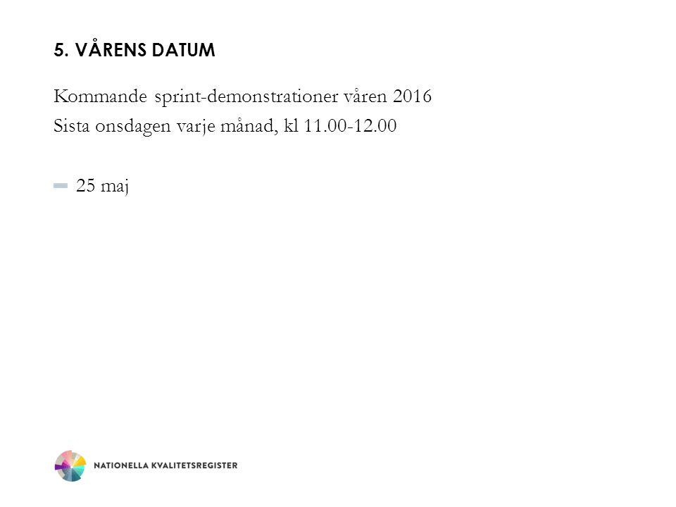 5. VÅRENS DATUM Kommande sprint-demonstrationer våren 2016 Sista onsdagen varje månad, kl 11.00-12.00 25 maj