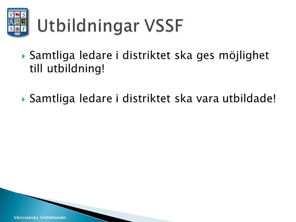 Västsvenska Simförbundet  Samtliga ledare i distriktet ska ges möjlighet till utbildning!  Samtliga ledare i distriktet ska vara utbildade!