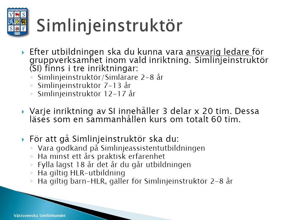 Västsvenska Simförbundet  Efter utbildningen ska du kunna vara ansvarig ledare för gruppverksamhet inom vald inriktning. Simlinjeinstruktör (SI) finn