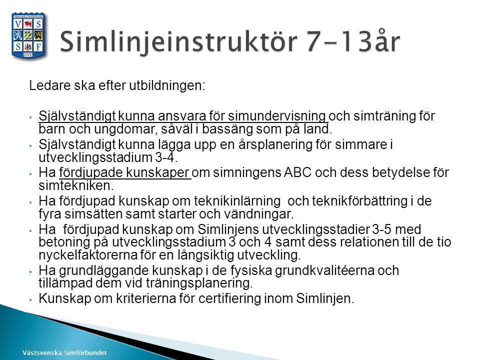 Västsvenska Simförbundet Ledare ska efter utbildningen: Självständigt kunna ansvara för simundervisning och simträning för barn och ungdomar, såväl i bassäng som på land.