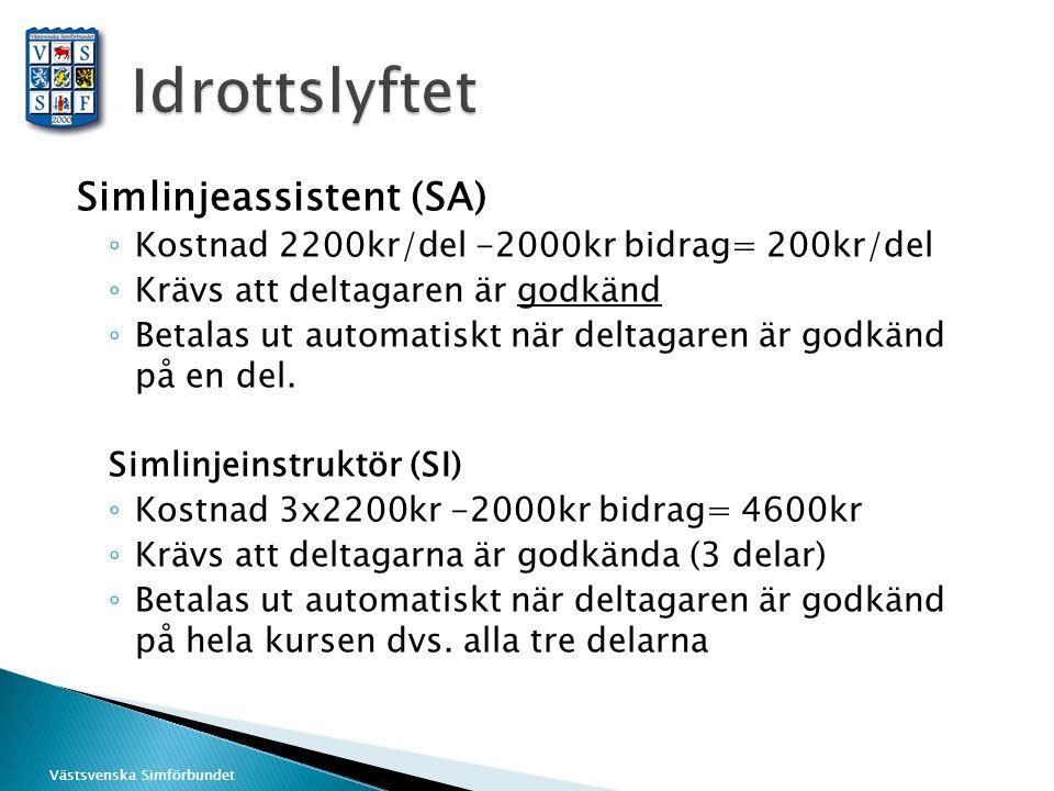 Västsvenska Simförbundet Simlinjeassistent (SA) ◦ Kostnad 2200kr/del -2000kr bidrag= 200kr/del ◦ Krävs att deltagaren är godkänd ◦ Betalas ut automatiskt när deltagaren är godkänd på en del.