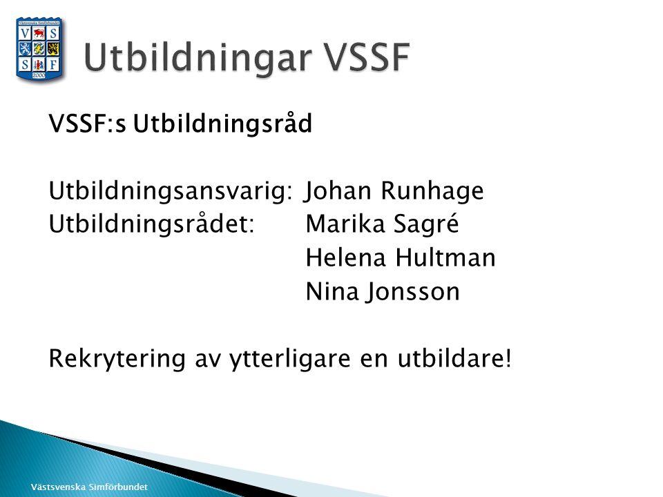 Västsvenska Simförbundet VSSF:s Utbildningsråd Utbildningsansvarig: Johan Runhage Utbildningsrådet:Marika Sagré Helena Hultman Nina Jonsson Rekryterin