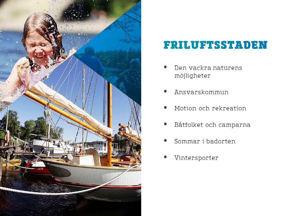  Den vackra naturens möjligheter  Ansvarskommun  Motion och rekreation  Båtfolket och camparna  Sommar i badorten  Vintersporter