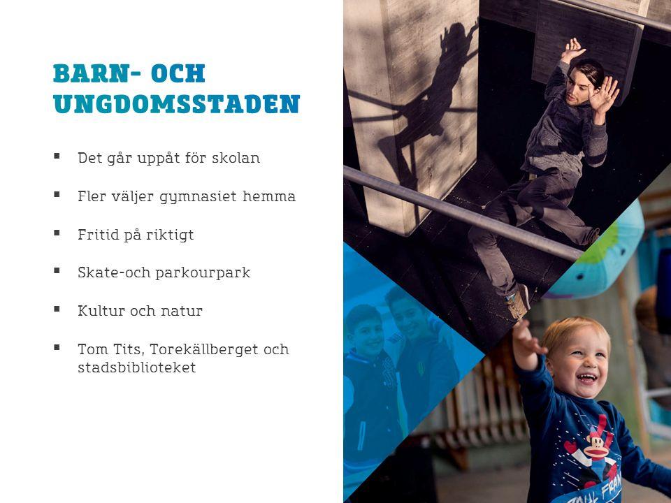  Det går uppåt för skolan  Fler väljer gymnasiet hemma  Fritid på riktigt  Skate-och parkourpark  Kultur och natur  Tom Tits, Torekällberget och stadsbiblioteket