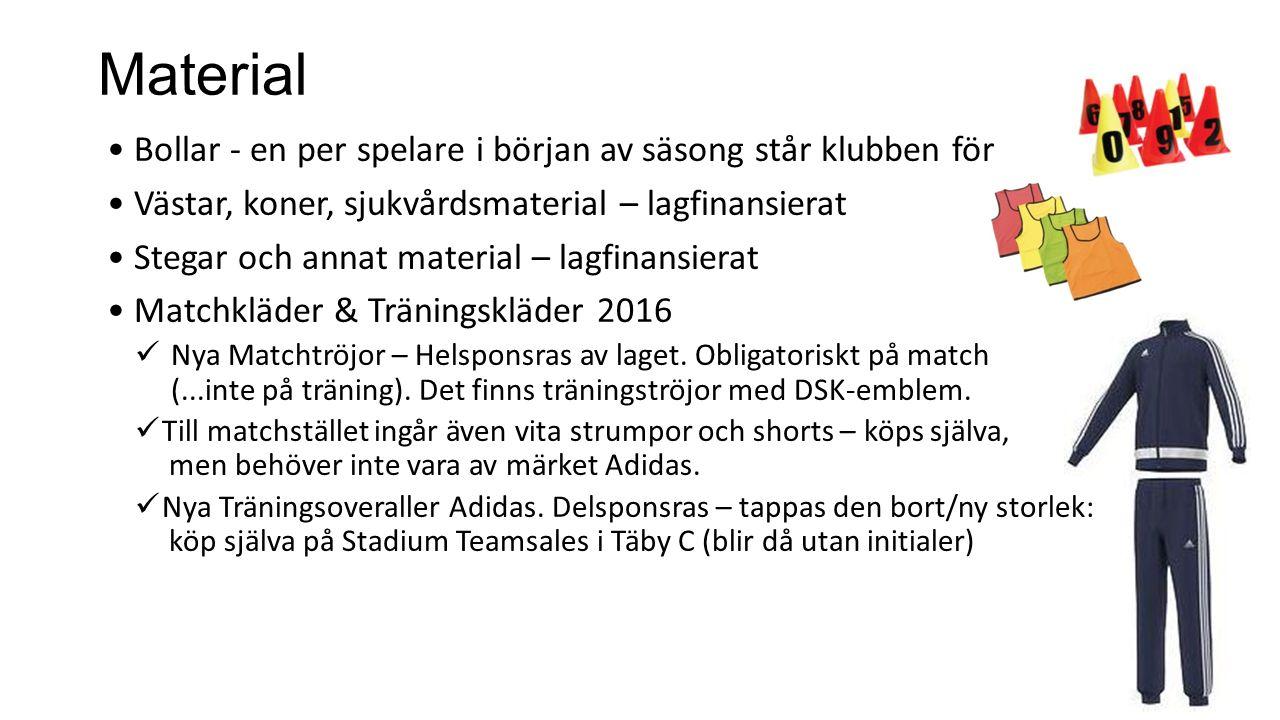 Bollar - en per spelare i början av säsong står klubben för Västar, koner, sjukvårdsmaterial – lagfinansierat Stegar och annat material – lagfinansier