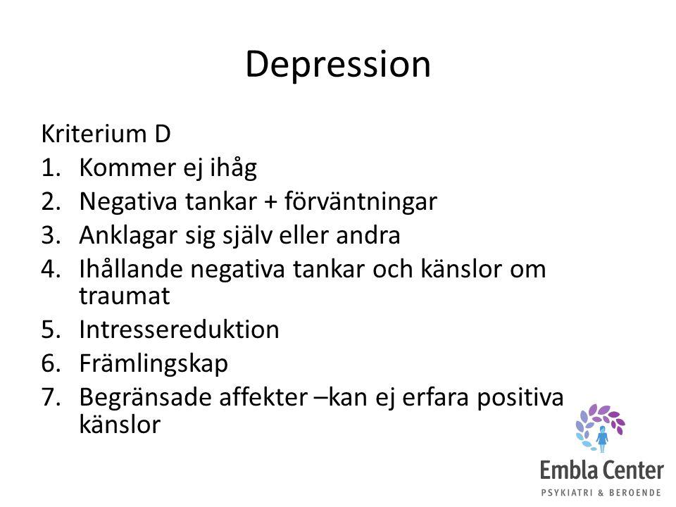 Depression Kriterium D 1.Kommer ej ihåg 2.Negativa tankar + förväntningar 3.Anklagar sig själv eller andra 4.Ihållande negativa tankar och känslor om