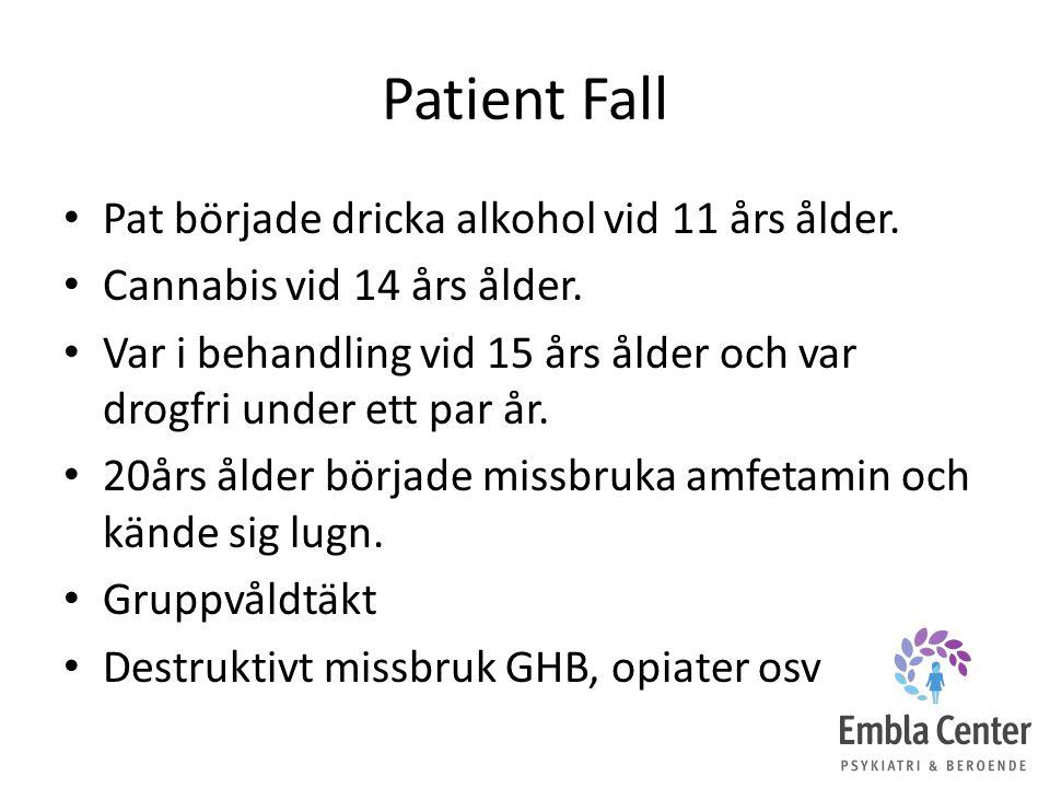 Patient Fall Pat började dricka alkohol vid 11 års ålder. Cannabis vid 14 års ålder. Var i behandling vid 15 års ålder och var drogfri under ett par å